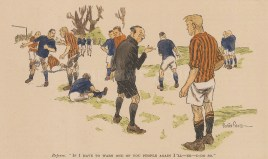 """Punch: Football. 1932. A hand coloured original vintage wood engraving. 7"""" x 4"""". [SPORTSp3304]"""