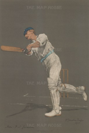 Sir Francis Stanley Jackson batting. Stanley captained for England and was president of the MCC in 1921.