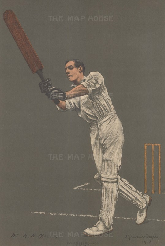 Reginald Herbert Spooner batting. Spooner captained for England in Cricket and Rugby Union.