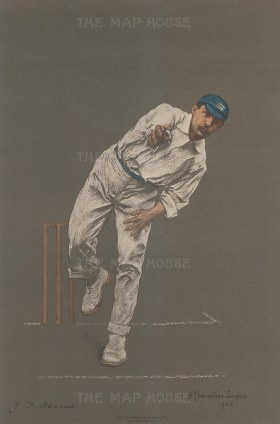 John Thomas Hearne bowling. Hearne regularly headed first class bowling, and holds the record for first class wickets for medium and above pace bowlers.