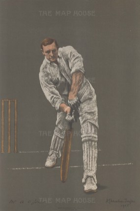 Arthur Owen Jones batting. A well regarded all rounder, Owen's career and eventually his life were cut short by tuberculosis.