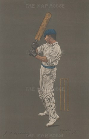 John Thomas Tyldesley batting. A professional batsman, Tyldesley played test cricket for a decade until the outbreak of WWI.