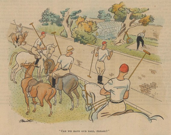 "Punch: Polo. 1938. A hand coloured original vintage lithograph. 7"" x 5"". [SPORTSp3368]"