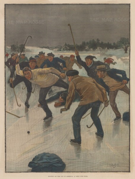 Gentlemen playing a game of ice hockey. Illustration drawn by H. Burgess.