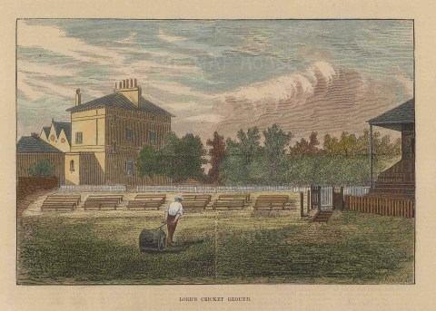 """ISDN: Lord's. 1874. A hand coloured original antique wood engraving. 8"""" x 4"""". [SPORTSp3529]"""