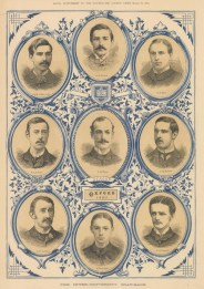Black and white portraits of the Oxford Crew with decorative dark blue detail.