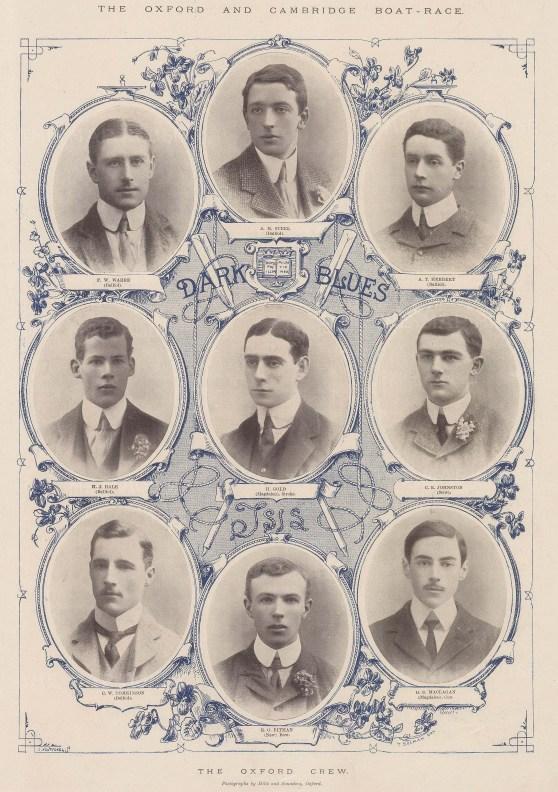 Dark Blues. Black & white portraits of the Oxford Crew with decorative dark blue detail.
