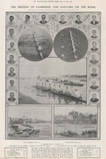 Four views of the race with a comparative view of the 1869 Harvard v. Oxford race and description.