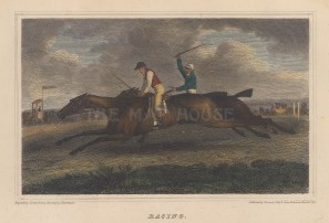 "Scott: Racing. 1818. A hand coloured original antique steel engraving. 6"" x 4"". [SPORTSp3549]"