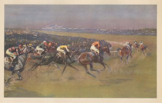 Tattenham Corner. Riders speeding round the corner with the old stands still in place. By the artist known as 'the grand old man of British sporting art'.