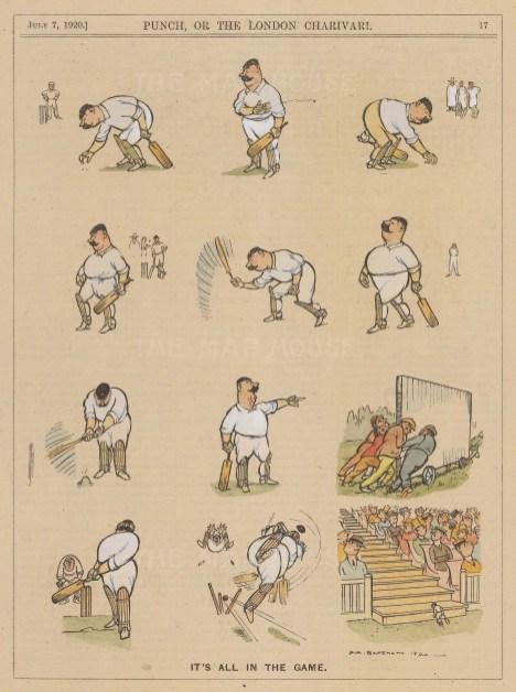 "Punch: Cricket. 1920. A hand coloured original antique wood engraving. 6"" x 10"". [SPORTSp3568]"