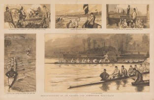 """Graphic Magazine: Oxford Cambridge Boat Race. 1884. An original tinted antique wood engraving. 20"""" x 14"""". [SPORTSp3611]"""