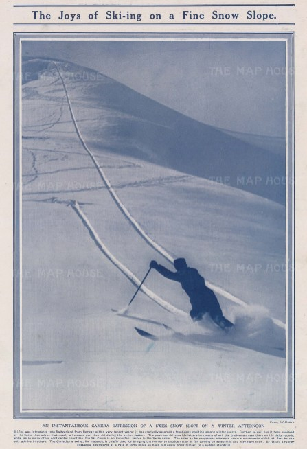 Skiing: The Christiana swing. Glissading on a fine snow slope in Switzerland.