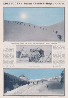 Skiing: Adelboden 4450 ft. Bernese Oberland. Ski Party on a slopes, view of the tracks, and the party at rest. With Text.