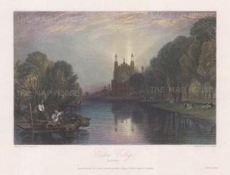 "Turner: Eton College, Berkshire. 1831. A hand coloured original antique steel engraving. 12"" x 9"". [ENGp123]"