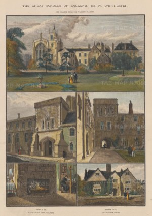 """Illustrated London News: Winchester College, Hampshire. 1891. A hand coloured original antique wood engraving. 10"""" x 14"""". [ENGp124]"""
