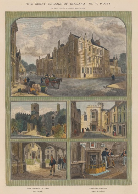 """Illustrated London News: Rugby School, Warwickshire. 1891. A hand coloured original antique wood engraving. 10"""" x 14"""". [ENGp169]"""