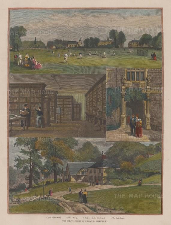 "Illustrated London News: Shrewsbury School, Shropshire. 1896. A hand coloured original antique wood engraving. 10"" x 13"". [ENGp216]"