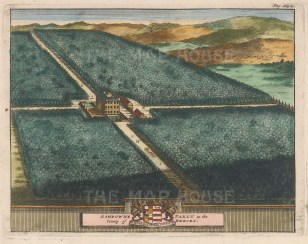 "van der Aa: Ashdowne Park, Berkshire. 1727. A hand coloured original antique copper engraving. 7"" x 5"". [ENGp23]"