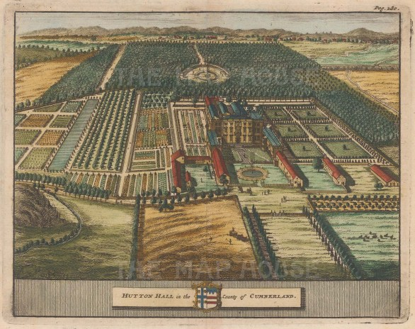 "van der Aa: Hutton Hall, Cumberland. 1727. A hand coloured original antique copper engraving. 6"" x 5"". [ENGp243]"