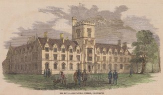 """Illustrated London News: Royal Agricultural College, Cirencester. 1860. A hand coloured original antique wood engraving. 10"""" x 5"""". [ENGp253]"""