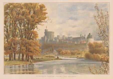 "Illustrated London News: Windsor Castle, Berkshire. 1887. An original antique chromolithograph. 14"" x 12"". [ENGp305]"