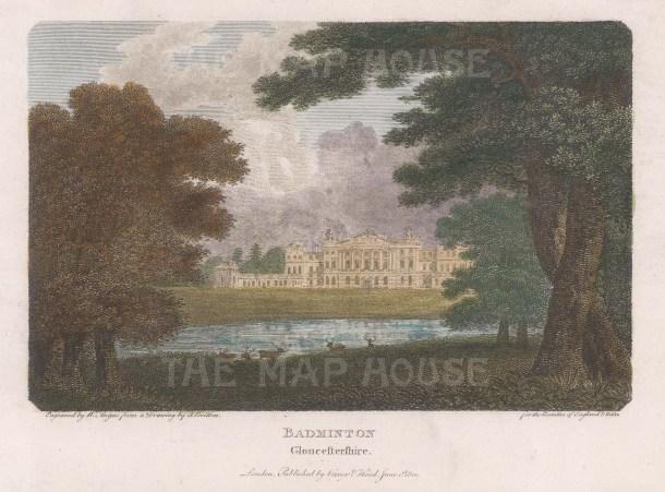 Vernor: Badminton, Gloucestershire. 1801. A hand coloured original antique copper engraving. [ENGp314]