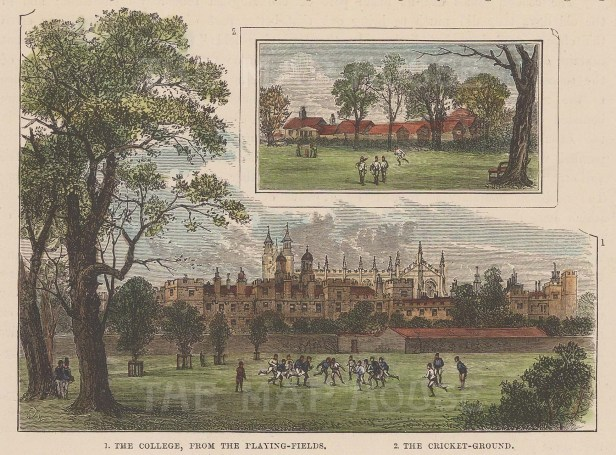 The college from the playing fields, with inset of the Cricket Ground.