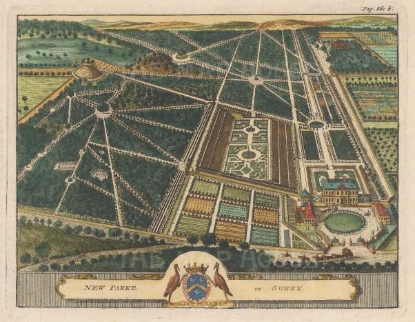 "van der Aa: New Parke, Surrey. 1727. A hand coloured original antique copper engraving. 7"" x 6"". [ENGp33]"