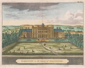"van der Aa: Badminton House, Gloucestershire. 1727. A hand coloured original antique copper engraving. 6"" x 5"". [ENGp42]"