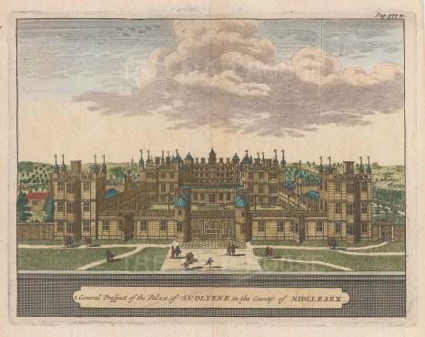 """van der Aa: Audley End House, Essex. 1727. A hand coloured original antique copper engraving. 6"""" x 5"""". [ENGp51]"""