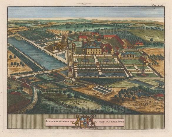 "van der Aa: Staunton Harold, Leicestershire. 1727. A hand coloured original antique copper engraving. 7"" x 5"". [ENGp54]"