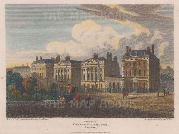 "Vernor: Cavendish Square. 1814. A hand coloured original antique steel engraving. 7"" x 5"". [LDNp10070]"
