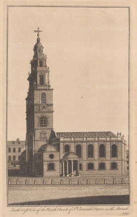 St Clement Danes in the Strand. South west view of the church designed by Sir Christopher Wren.