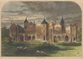 """Old & New: Holland House. c1880. A hand coloured original antique wood engraving. 8"""" x 6"""". [LDNp10182]"""