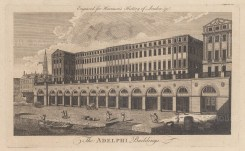 Adelphi Buildings. The Eleven houses above the vaulted wharves by the Adam brothers were London's earliest neoclassical buildings.