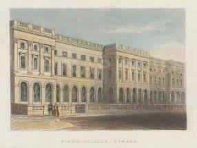 "Tallis: King's College. 1851. A hand coloured original antique wood engraving. 4"" x 3"". [LDNp10431]"