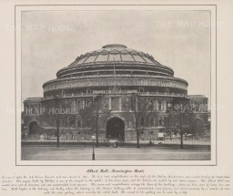 "Anonymous: Royal Albert Hall. c1890. An original black & white antique photo-lithograph. 10"" x 8"". [LDNp10610]"