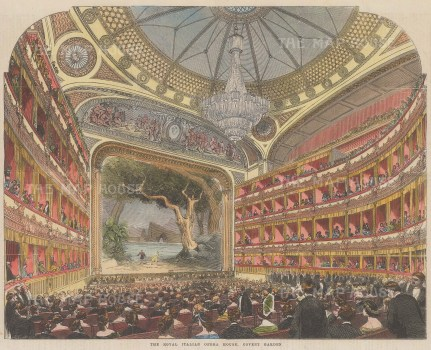 """Illustrated London News: Royal Opera House, Covent Garden. 1858. A hand coloured original antique wood engraving. 13"""" x 9"""". [LDNp10679]"""