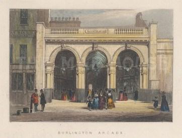"Tallis: Burlington Arcade. 1851. A hand coloured original antique steel engraving. 6"" x 3"". [LDNp10873]"
