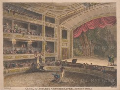 "Jones: Astley's Amphitheatre (Circus). 1815. A hand coloured original antique copper engraving. 9"" x 7"". [LDNp10887]"