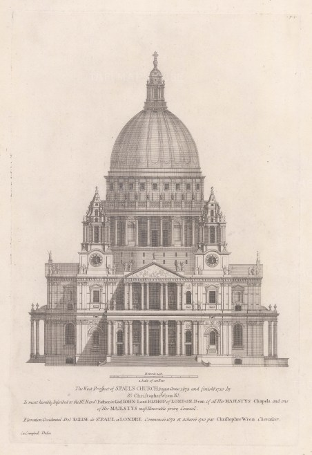 """Campbell: St Paul's Cathedral. 1720. An original antique copper engraving. 10"""" x 15"""". [LDNp10916]"""