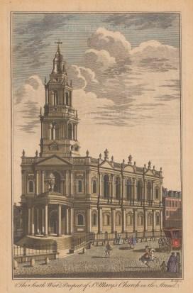 "Cole: St Mary le Strand. c1750. A hand coloured original antique copper engraving. 8"" x 13"". [LDNp8265]"