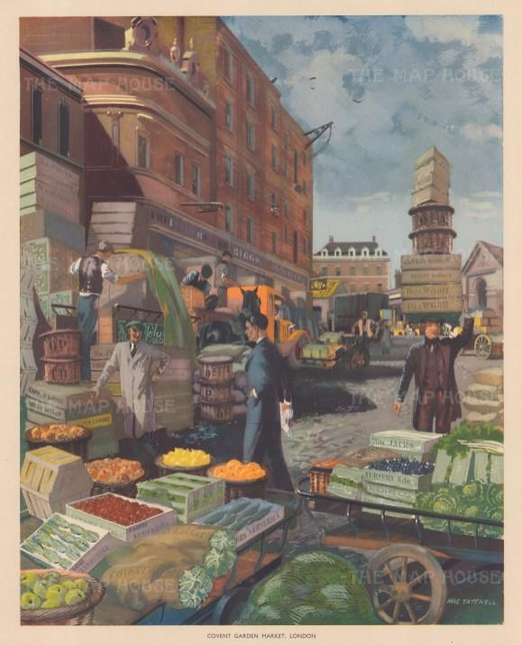 "Packham: Covent Garden Market. c1940. An original vintage chromolithograph. 16"" x 20"". [LDNp8802]"