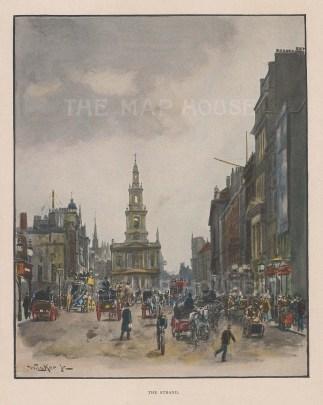 "Tucker: The Strand. c1905. A hand coloured original antique photo-gravure. 6"" x 7"". [LDNp9334]"