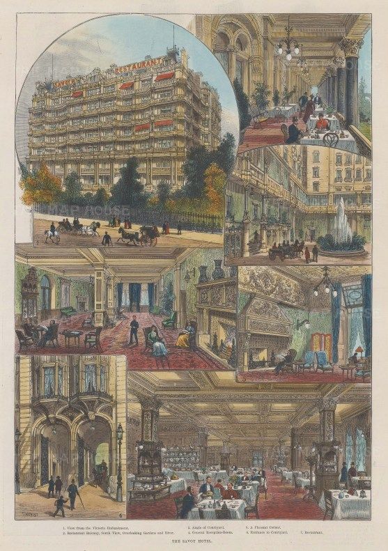 """Illustrated London News: Savoy Hotel. 1889. A hand coloured original antique wood engraving. 10"""" x 13"""". [LDNp9550]"""