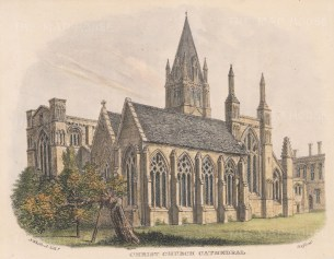 """Whittock: Christ Church Cathedral. 1850. A hand coloured original antique lithograph. 8"""" x 6"""". [OXONp328]"""