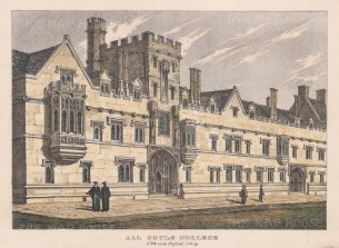 "Whittock: All Soul's College. 1850. A hand coloured original antique lithograph. 9"" x 6"". [OXONp329]"