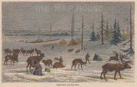 Laplanders and reindeer.