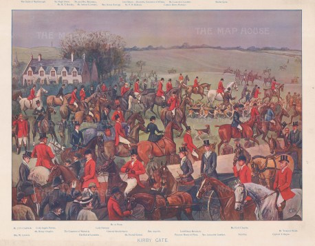 Quorn Hunt: Notable hunters at Kirby Gate including Captain Hartopp MFH, huntsmen Tom Firr and Walter Kyte, the duke of Marlborough, the earl of Londsdale and princess of Plesse. By Cuthbert Bradley with key.